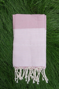 Hamam Blanket Honeycomb Stripe blush rose