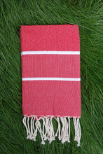 Load image into Gallery viewer, Hamam Blanket Wave Herringbone lobster red