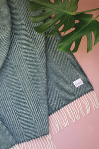 Woolen Throw herringbone petrol