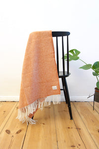 Woolen Throw herringbone terracotta