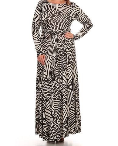 Geometric Long Sleeve Maxi Dress - Beautique Online Store