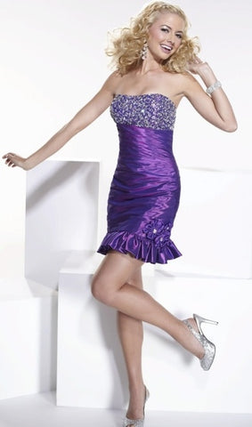 Hannah S Beaded Taffeta Cocktail Dress 27648 by House of Wu - Beautique Online Store