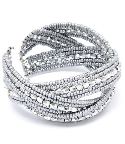 Silver Beaded Cuff - Beautique Online Store