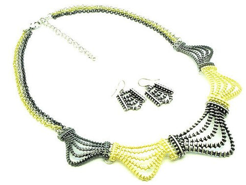 17 Inch Metal Link Multi-Strand Necklace/Earring Set - Beautique Online Store