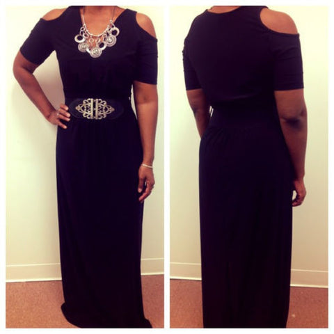 Black Cut-Out Maxi w/detachable Belt - Beautique Online Store