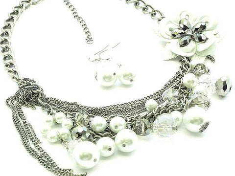 18 Inch Pearl/Rose Chain Necklace Set - Beautique Online Store