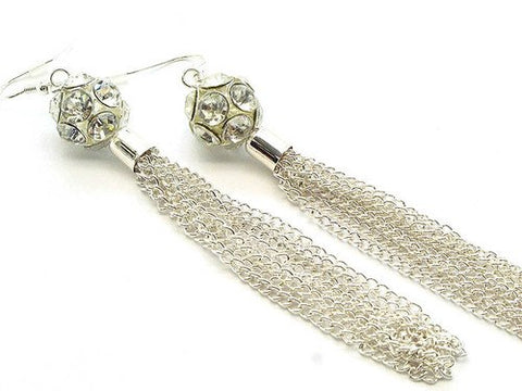 4 Inch Silver Tone Tassel Earrings - Beautique Online Store