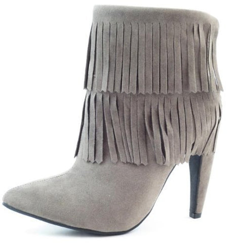 Gray Fringe Western Ankle Boots - Beautique Online Store