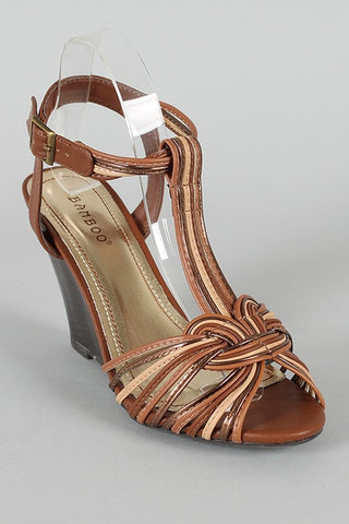 Strappy T-Strap Peep Toe Wedge - Beautique Online Store