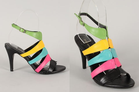 Black Multi Color Strap Heel - Beautique Online Store