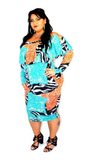 Animal Print Aqua Off Shoulder Midi Dress - Beautique Online Store