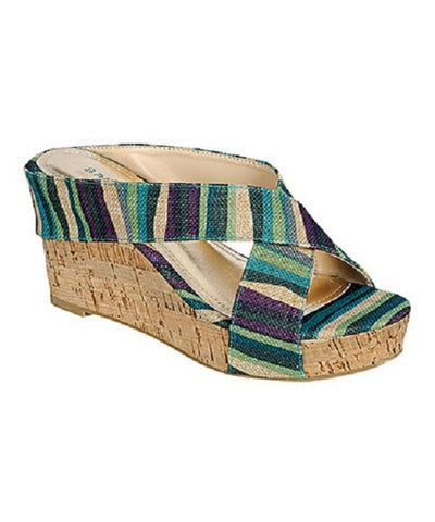 Blue Stripe Levana Wedge Heels - Beautique Online Store