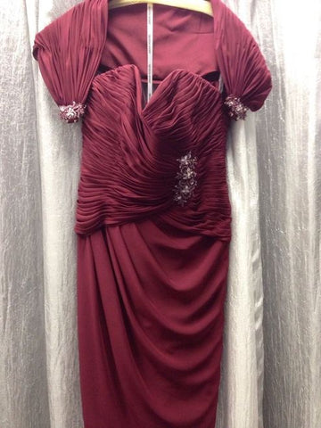 Caterina by Jordan Mother of the Wedding Dress Burgandy wine 10 - Beautique Online Store