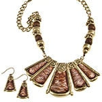 18 Inch Gold and Wood Tone Bead Necklace/Earring Set - Beautique Online Store