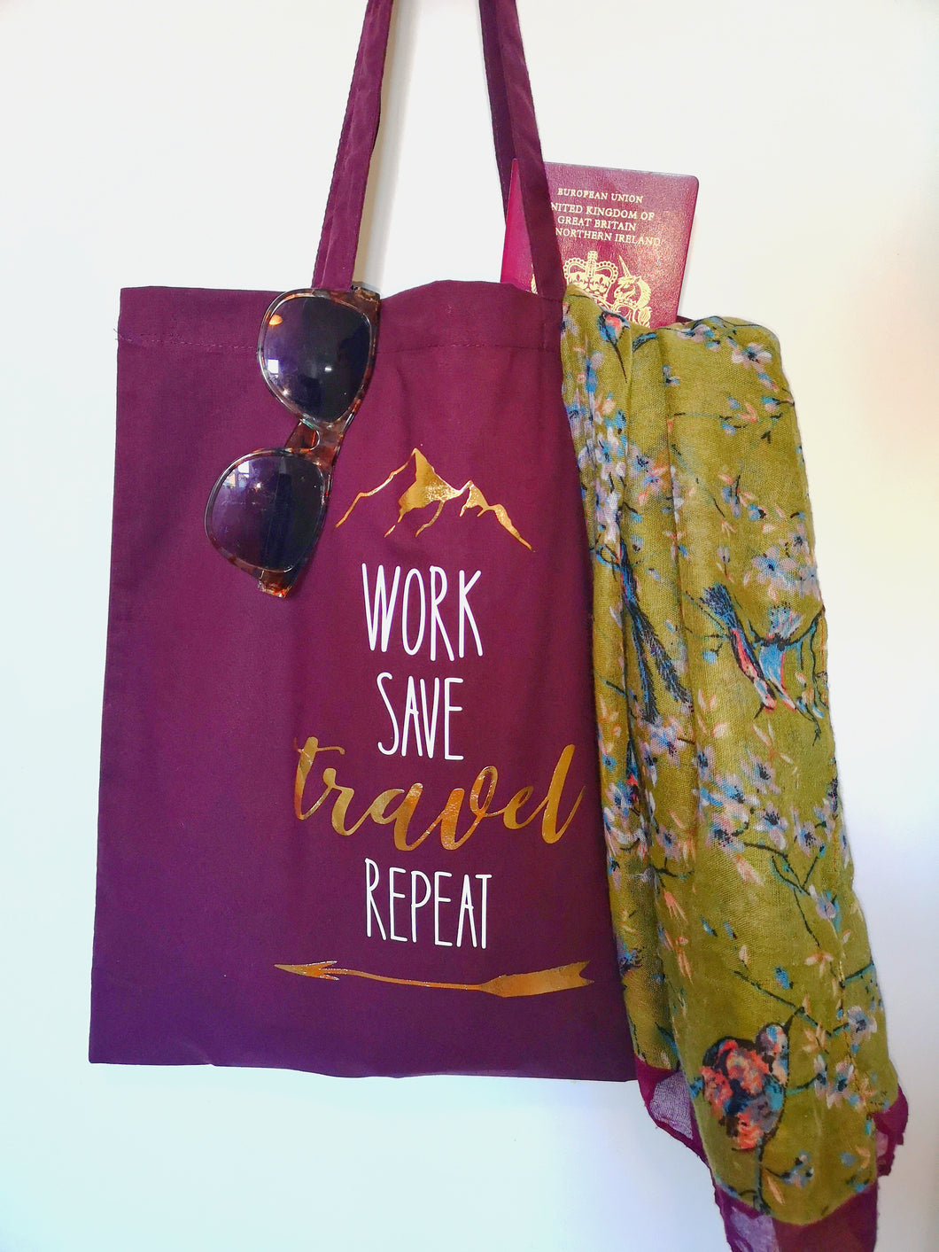 'Work, save, travel, repeat' Tote Bag