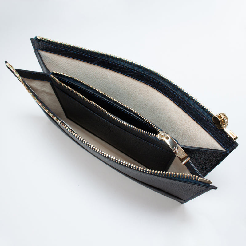 1233 FD 2ROOMS CLUTCH BAG WITH HANDLE Col.Navy
