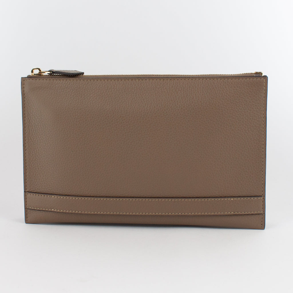 1233 LD 2ROOMS CLUTCH BAG WITH HANDLE Col.Kaki