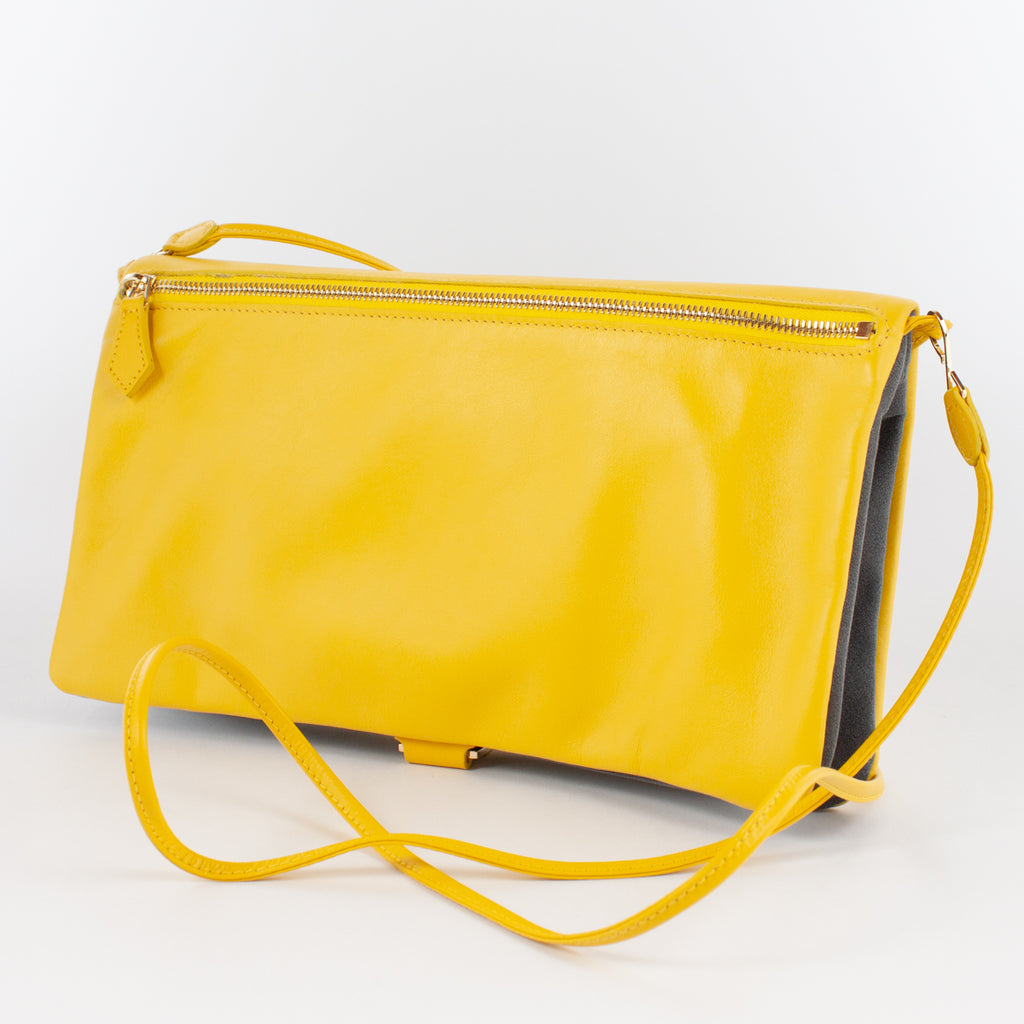 F1020B LM/AL CLUTCH BAG WITH SHOULDER Col.Giallo/Grigio
