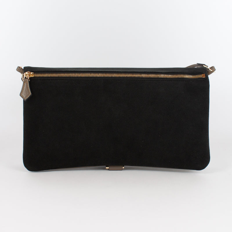 F1020B LM/AL CLUTCH BAG WITH SHOULDER Col.Kaki/Nero
