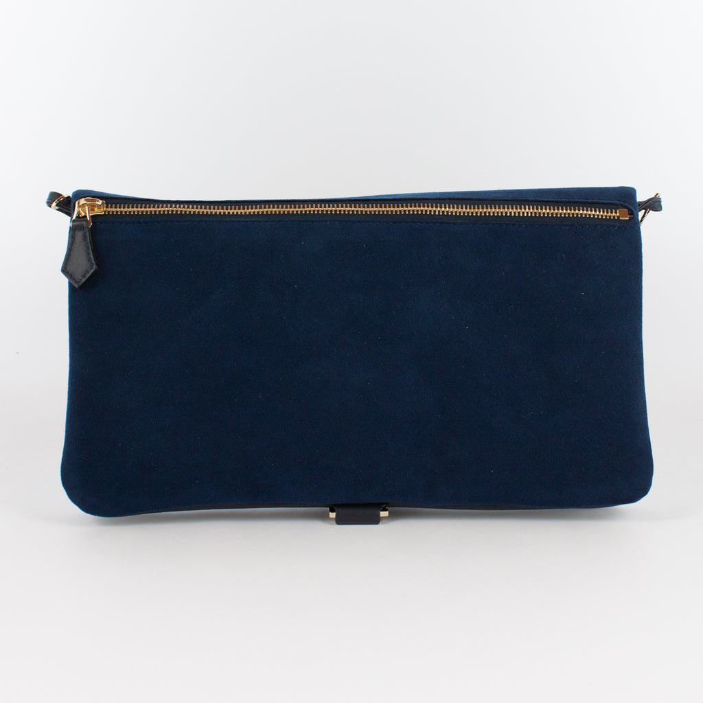 F1020B LM/AL CLUTCH BAG WITH SHOULDER Col.Navy/Navy
