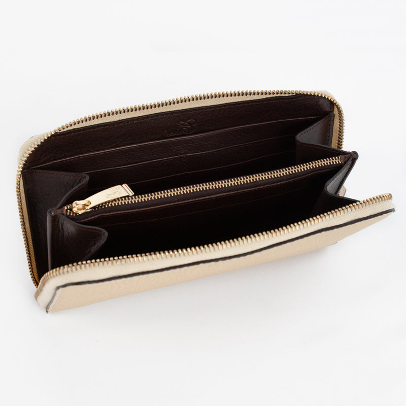 P0967 LD ZIP LONG WALLET Col.Beige