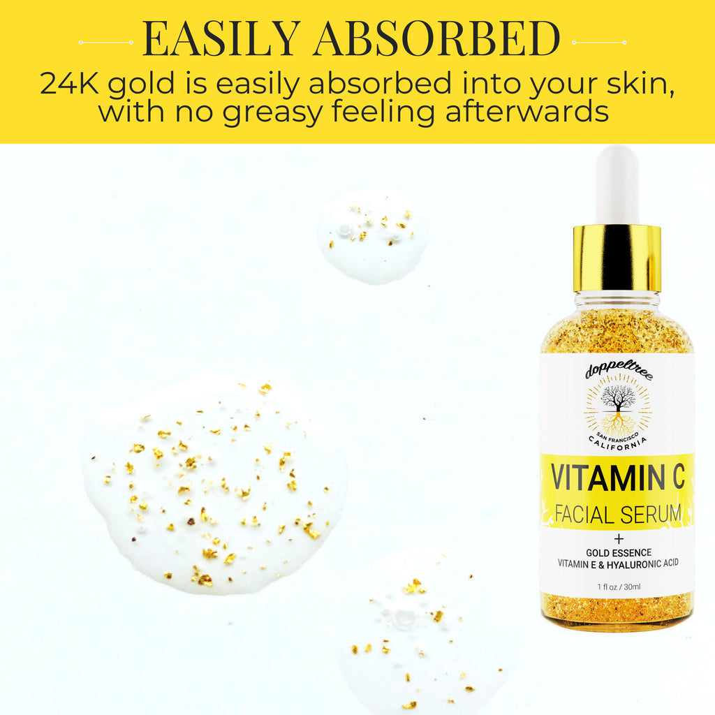 Vitamin C Facial Serum with 24K Gold Flakes-Doppeltree