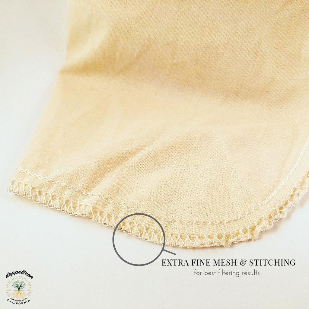 Organic Cotton Nut Milk Filter Bag 12in x 12in (Large)-Doppeltree