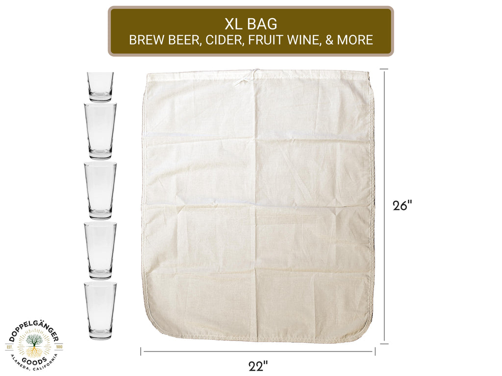 Reusable Organic Cotton Beer Brewing Brew-In-A-Bag 26in x 22in (XL) - Doppeltree
