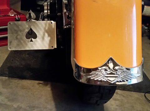 "Fortress Motorcycle custom ""Ace of spades"" license plate holder"