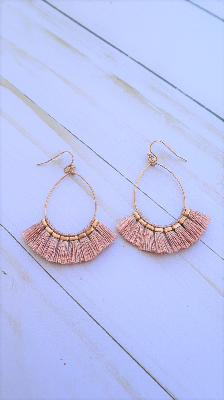 Summer Serenity Fringe Earrings Dusty Pink