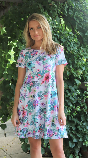 Tropical Love Floral Dress White