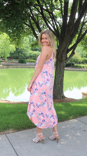 Boardwalk Floral Maxi Dress Peach