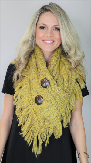 Keep Me Warm Fringe Scarf Lemon