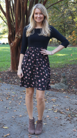 Classic Fall Floral Dress Black