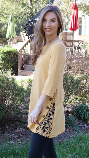 Believe In The Detail Tunic Top Mustard