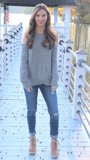 Shoulder Show Off Sweater Heather Grey