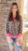 Bold Statement Sweater Hot Pink Leopard