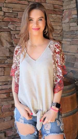 Love Starts With Paisley Top Ivory