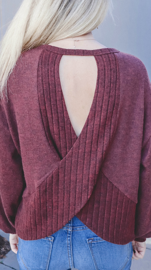 Sweet Dreams Cutout Back Sweater Maroon