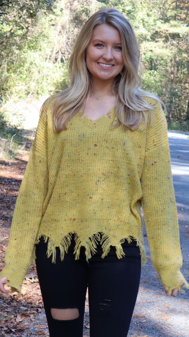 Fun Confetti Sweater Mustard