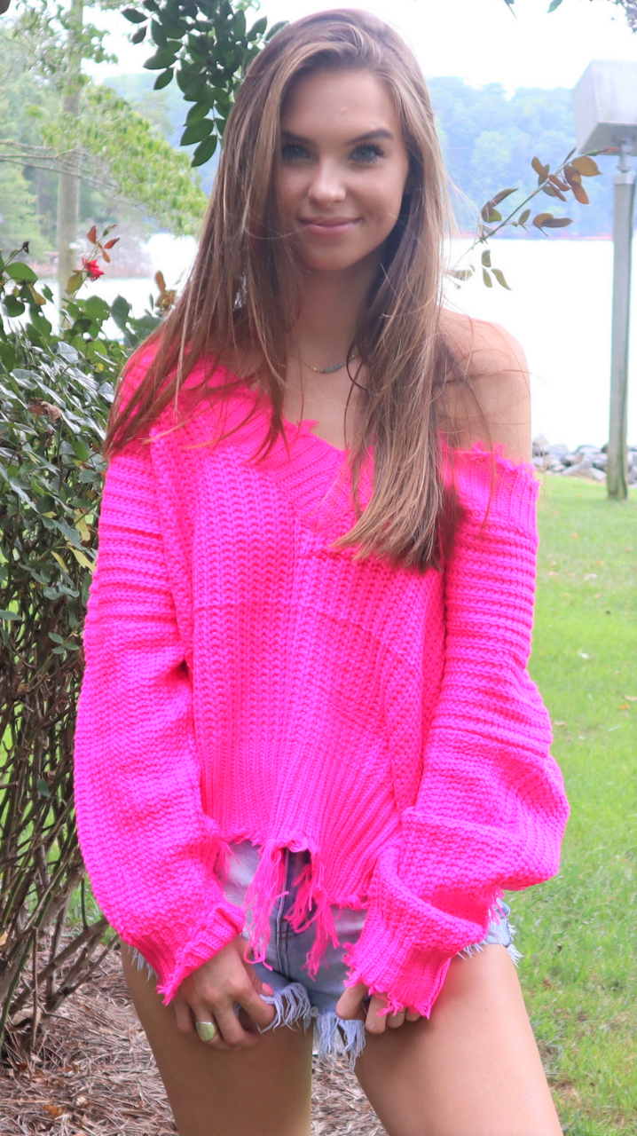 Frayed For Days Fuchsia Sweater
