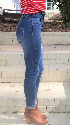 Fall Favorite Paper Bag Waist Jeans Dark Wash