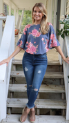 Floral Twist Blouse Navy