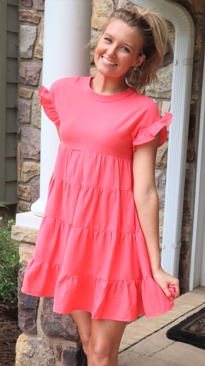 Goodbye Summer Baby Doll Dress Coral