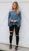 Retro Feels Bell Sleeve Top Indigo