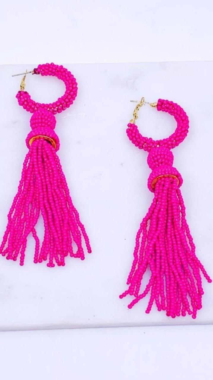 Little Bit Of Sass Earrings Fuchsia