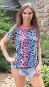 Wild At Heart Top Multi Color Leopard