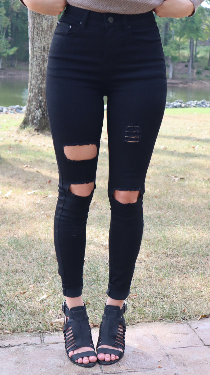 Classic Fall Pants Distressed Black
