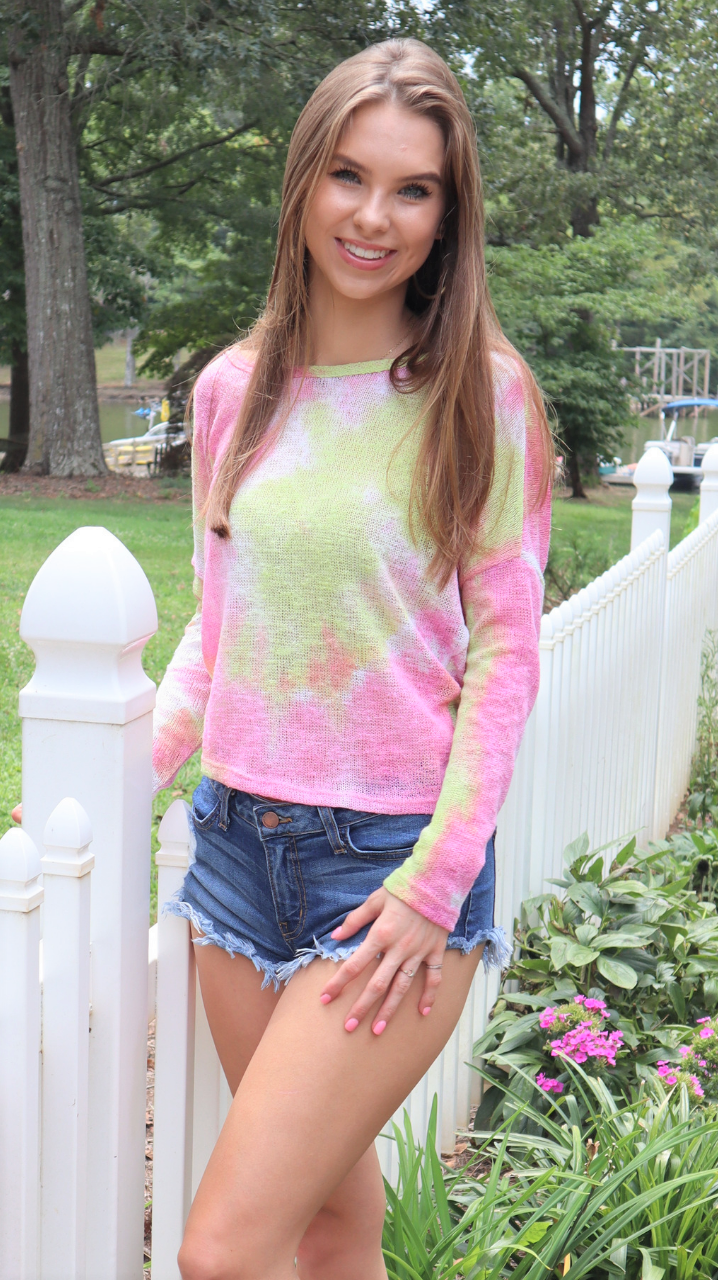Pink Lemonade Twisted Tie Dye Top