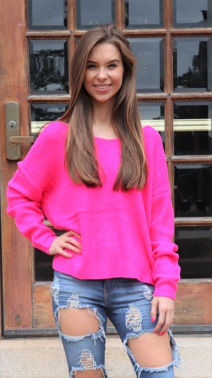 Neon Lights Twist Sweater Fuchsia